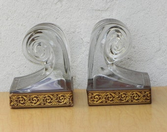 Glass Scroll Bookends with Gold Embossed Leather Trim