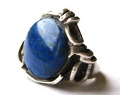 Vintage Ring 50s 60s Mid Century Modernist Lapis Lazuli Sterling Silver Studio Jewelry Large Statement Ring size 7