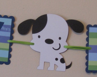 Small green and Blue Puppy Dog Happy Birthday Banner  Puppy dog