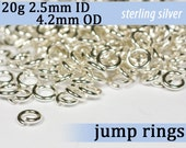 20g 2.5mm ID 4.2mm OD sterling silver 925 jump rings -- 20g2.50 open jumprings jewelry findings supplies links