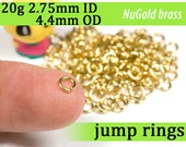 20g 2.75mm ID 4.4mm OD NuGold brass jump rings -- 20g2.75 open jumprings jewelry findings supplies links