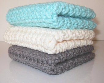 Crochet Wash Cloths  /  Dish Cloths / 100% Cotton / Set of 3