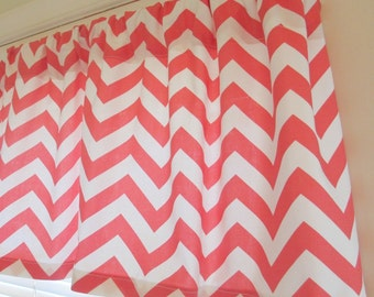 NEW  Window CURTAIN Valance Premier Prints Coral Chevron Zigzag