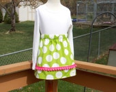 Buy Any 2 Skirts and Get 1 FREE, Circus Line - Under the Big Top Lime Green Polka Dot Skirt, Size 2, 3, 4, 5, 6, 7, 8, 9, 10, and 12