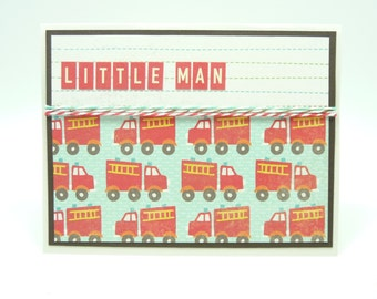Boy's Happy Birthday Card Fire Truck Birthday Card Little Boy's Fire Engine Birthday Card Red Fire Truck Card Handmade Paper Greeting Card