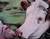 Barn Yard Pals, pig, cow mixed media painting