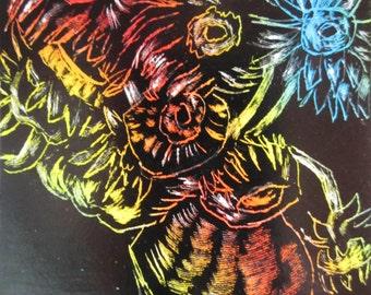 Sunflowers Scratch Board Art Card