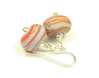 Swirl - Sterling Silver & Lampwork Glass Earrings