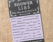Chalkboard Purple and Gray - Printable Baby Shower Mad Libs Advice for the Mom-to-Be - INSTANT DOWNLOAD