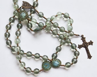 Rosary with Light Green Czech Glass and Bronze