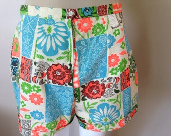 Vintage Flower Power Shorts Floral 1960s NOS