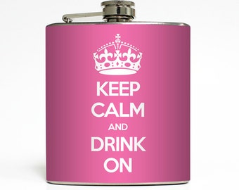 Keep Calm and Drink On Whiskey Flask Crown Bride Liquid Courage 21st Birthday Bridesmaid Gifts Stainless Steel 6 oz Liquor Hip Flask LC-1267