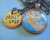Guatemala Adoption Map Hand Stamped Necklace