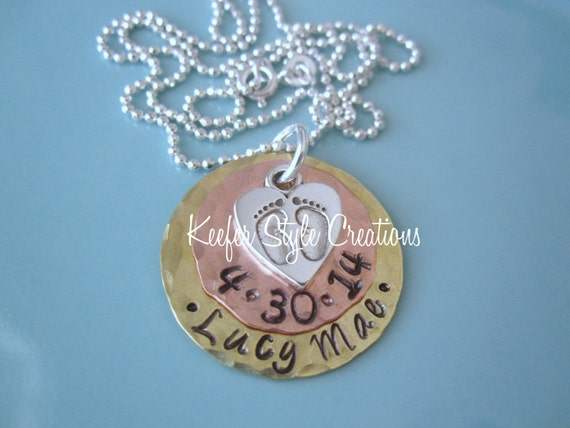 Hand Stamped Copper/Brass Necklace with baby feet charm