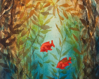 Kelp Forest, Watercolor Print, Garibaldi fish, Underwater, Sea, Ocean, Diving