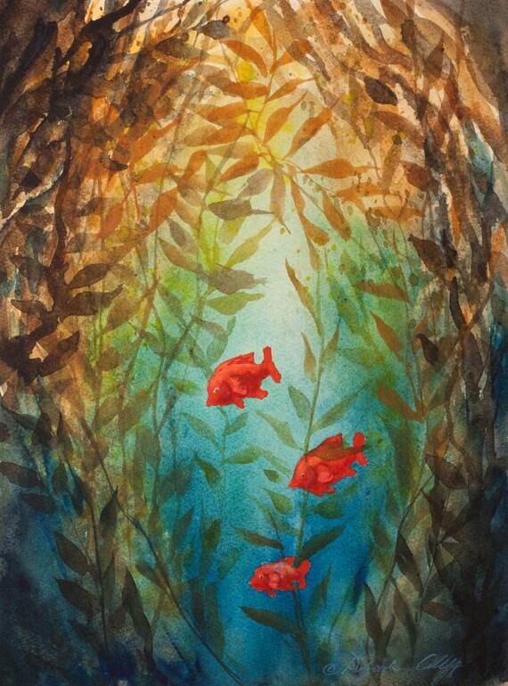 Kelp Forest Watercolor Print Garibaldi Fish Underwater