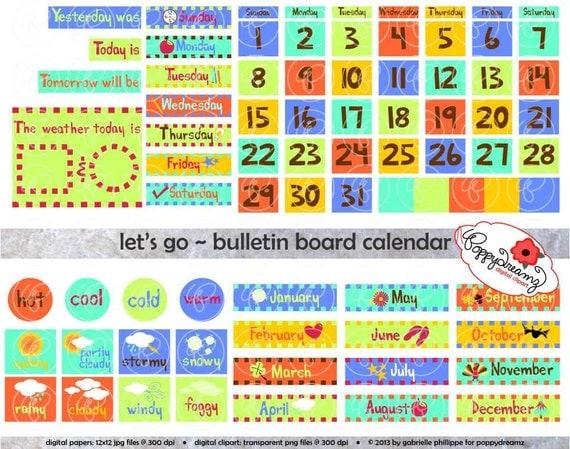 Art Teacher Calendar : Let s go bulletin board calendar clipart set dpi