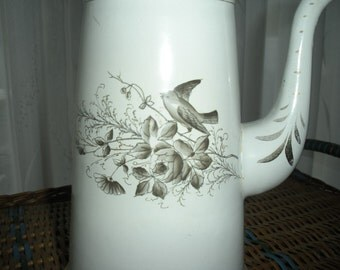 Antique French Country Graniteware Enamelware Chocolate Pot Coffee Pot Birds and Flowers