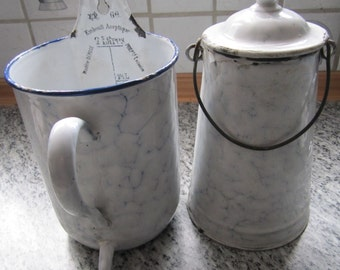 Antique European Graniteware Enameware Blue and White Chickenwire, Snow on the Mountain, Interior Decoration