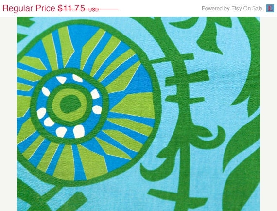 Closing Shop Home Dec Fabric Yardage - Suzani Vine - Grass Green, Blue, Turquoise Premeir Prints -  - 1 Yard