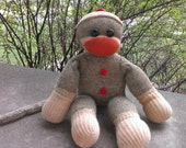 Sale!  Vintage Antique Sock Monkey Very Old Charming Size Adorable Outstanding