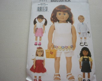 Pattern Doll Outfits 18 inch Dolls 5 Outfits Butterick 3491