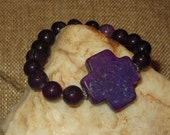 Stretch Purple Magnesite Cross Bracelet with Purple Jade Beads and Daisy Spacers