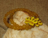Stretch Yellow Magnesite Crown Bracelet with Yellow Jade Beads and Daisy Spacers