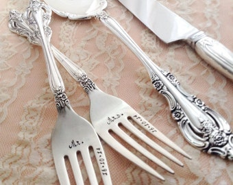 "Mr. & Mrs. forks with date, and cake server, and knife, vintage wedding ""artistry"", hand stamped"