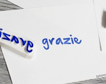 grazie stamp, grazie rubber stamp,  thanks rubber stamp, thank you stamp, italian word, kraft tags stamp, hand lettered stamp, packaging