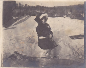 Little Girl in the Snow - Vintage Photograph, Vernacular, Found Photo, Ephemera (GGG)