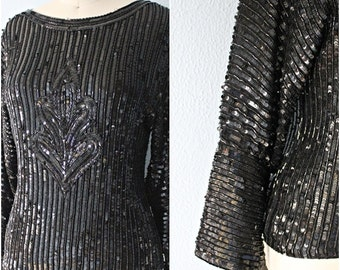 "SALE /// Exquisite 80's Black Beaded ""SIRUTI"" Medallion-Front Sequined Silk Blouse"