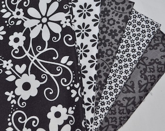 Tuxedo Collection 5 fat quarter bundle by Doodlebug Designs for Riley Blake, 1 1/4 yards total
