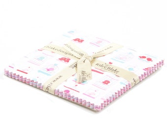 """Lovey  Dovey 5"""" Squares Charm Pack by Doodlebug Designs for Riley Blake, 21 pieces"""