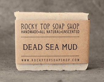 Dead Sea Mud Soap - All Natural Soap, Handmade Soap, Unscented Soap, Cold Process Soap, Vegan Soap