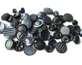 40 Buttons Vintage Plastic Buttons Navy Blue Gray Black Shank Buttons