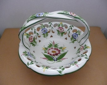 CLEARANCE - Colorful RCCL Reticulated Fruit Bowl Basket with Handle, Hand Painted in Portugal