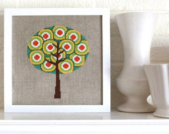 retro tree cross stitch pattern - diy - modern, contemporary - pdf - instant download