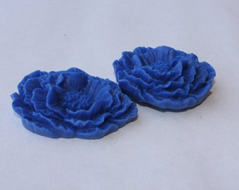 GIANT Ruffle Rose Cabochons - Lot of 4 - 40x45mm - Blueberry Color