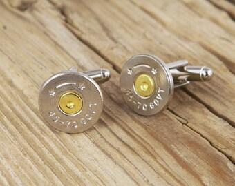 45-70 Thin Nickel Bullet Cuff Links (1) One Pair  SL-4570-NB-CL