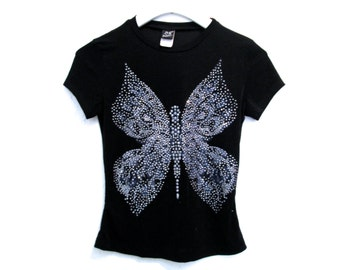 90's Sparkle Glitter Butterfly Crop Top size - S/M