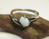 White Opal Ring Engagement Side Slant Sterling Australian Genuine Gem