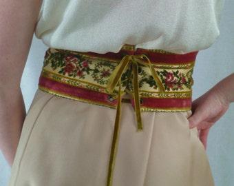 BELT - wide TAPESTRY - CORSET style - made in England for Hudson's - velvet ribbon