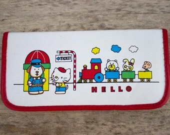 Sanrio Hello Kitty pencil case zippered 1980's train bunny dog mouse bear look alike elastic red white blue yellow choo choo possibly fake