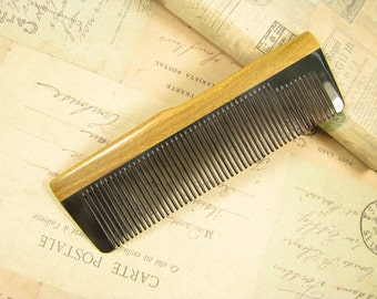 Small Thin Buffalo Horn Fine Tooth Comb Verawood Frame