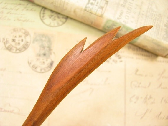 Peach Wood Hair Stick -  Wing of Angel