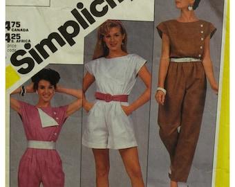 Side Button Jumpsuit, Romper Pattern, Blouson Waist, Cap Sleeves, Short Shorts, Belted, Vintage 1980s, Simplicity No.6276 Size 10 OR Size 12