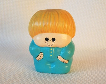 How cute is this vintage Russ Berrie 1973 Blonde Boy Bank with Stopper 1970s Collectible Russ Berrie Bank