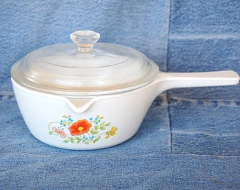 Vintage Corning Ware P-89-B WILDFLOWER Lipped Covered Saucepan 750ml