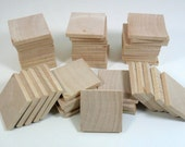 "50 Wood Squares 1 1/2"" x 3/16"" Unfinished Wood Squares Tiles Cutouts Pendant"